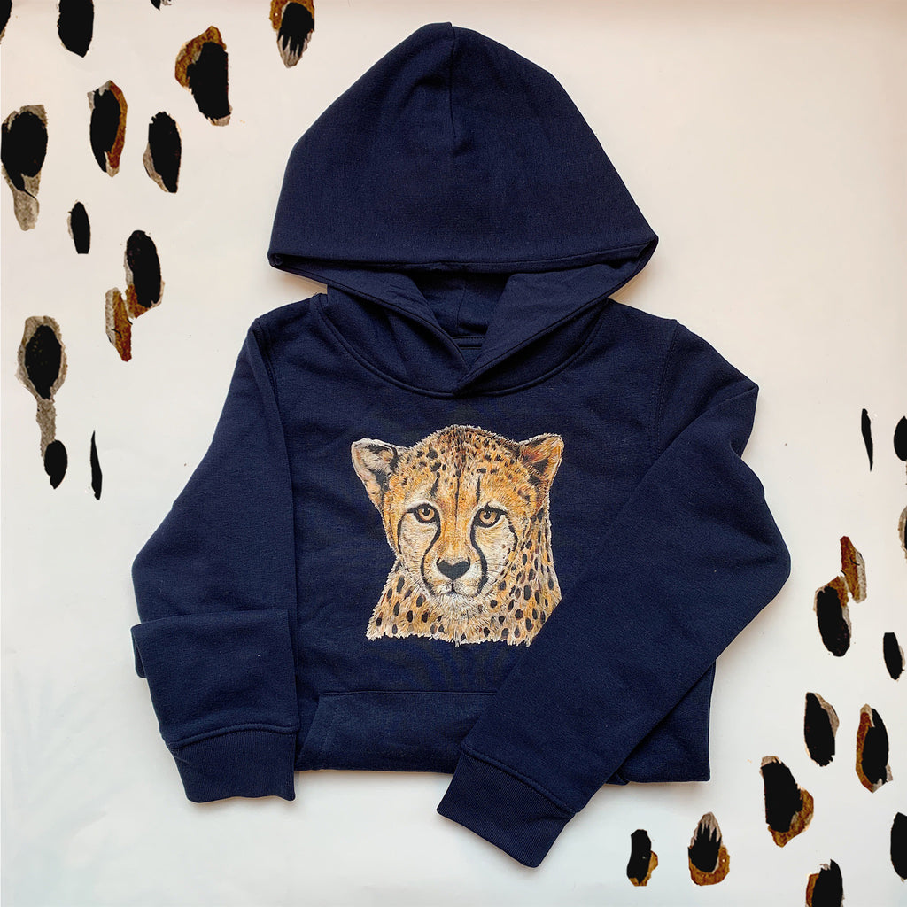 Kids French Navy Cheetah Hoodie