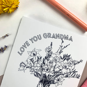 FREE Printable Mother's Day Daffodils Colouring In Card- Grandma
