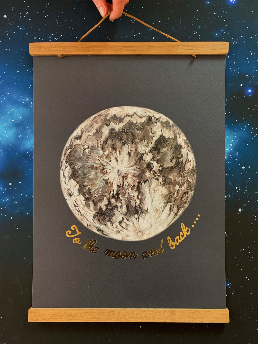 Limited Edition To The Moon And Back Gold Foiled A3 Print