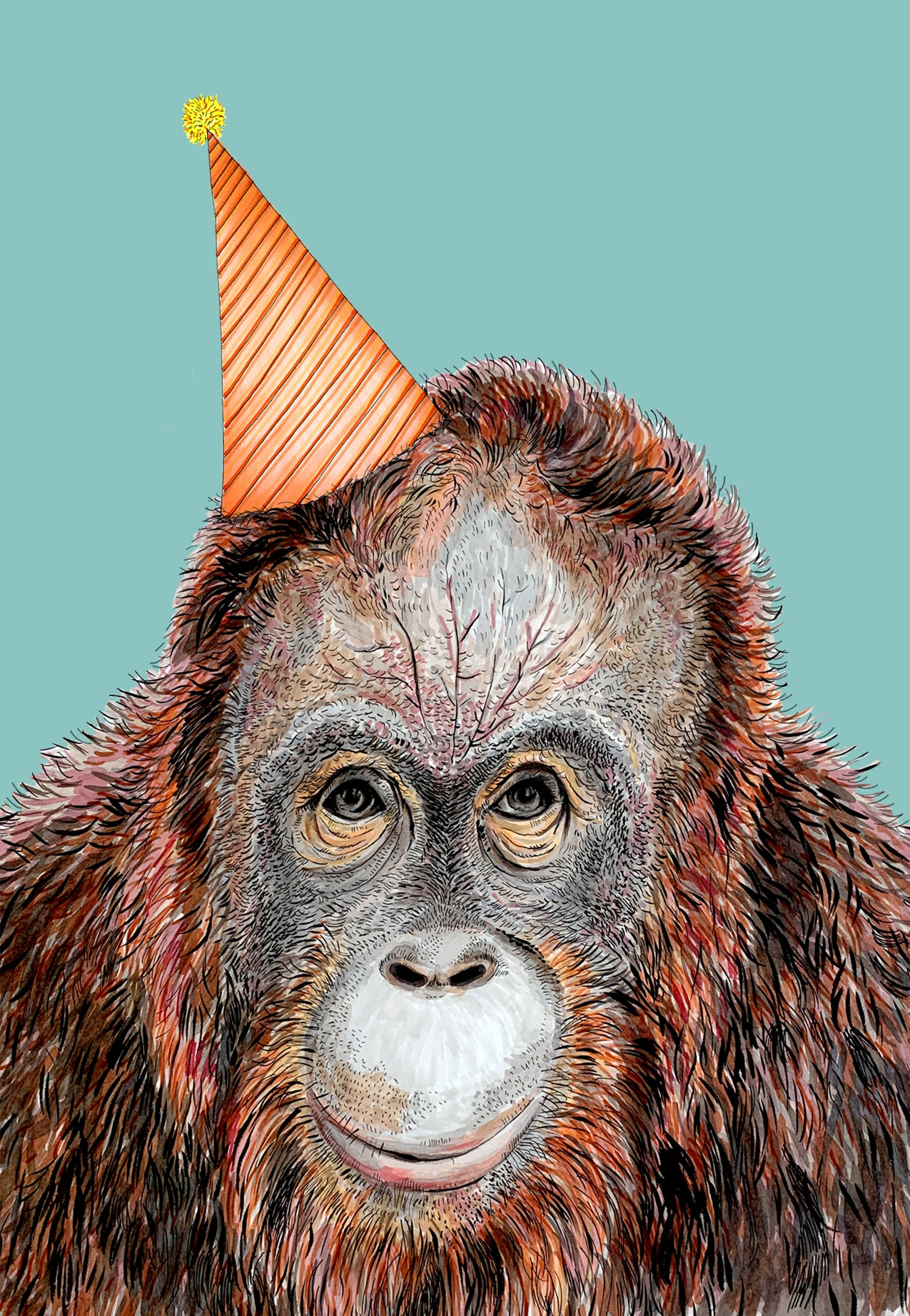 Orangutan Party Hat Blue