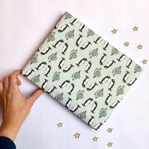 Kissing Penguin Christmas Wrapping Paper Sheet