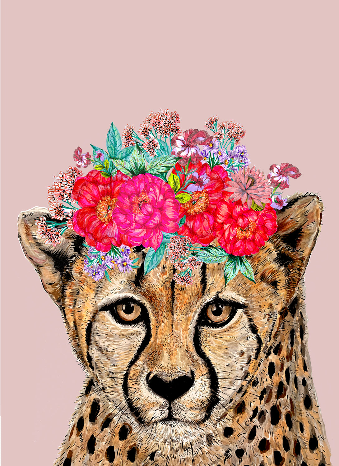 Cheetah Floral Headdress Pink