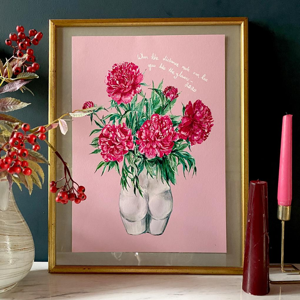 PERSONALISED Peonies in Bum Vase Winter Edition Giclée Print