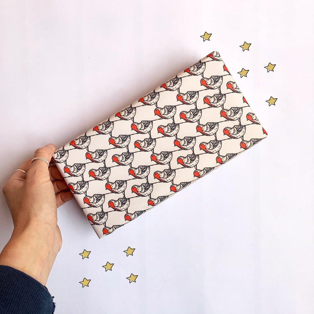 Christmas Robin Wrapping Paper Sheet