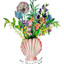 Load image into Gallery viewer, Shell Vase Of Garden Blooms Giclée Print