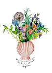 Shell Vase Of Garden Blooms