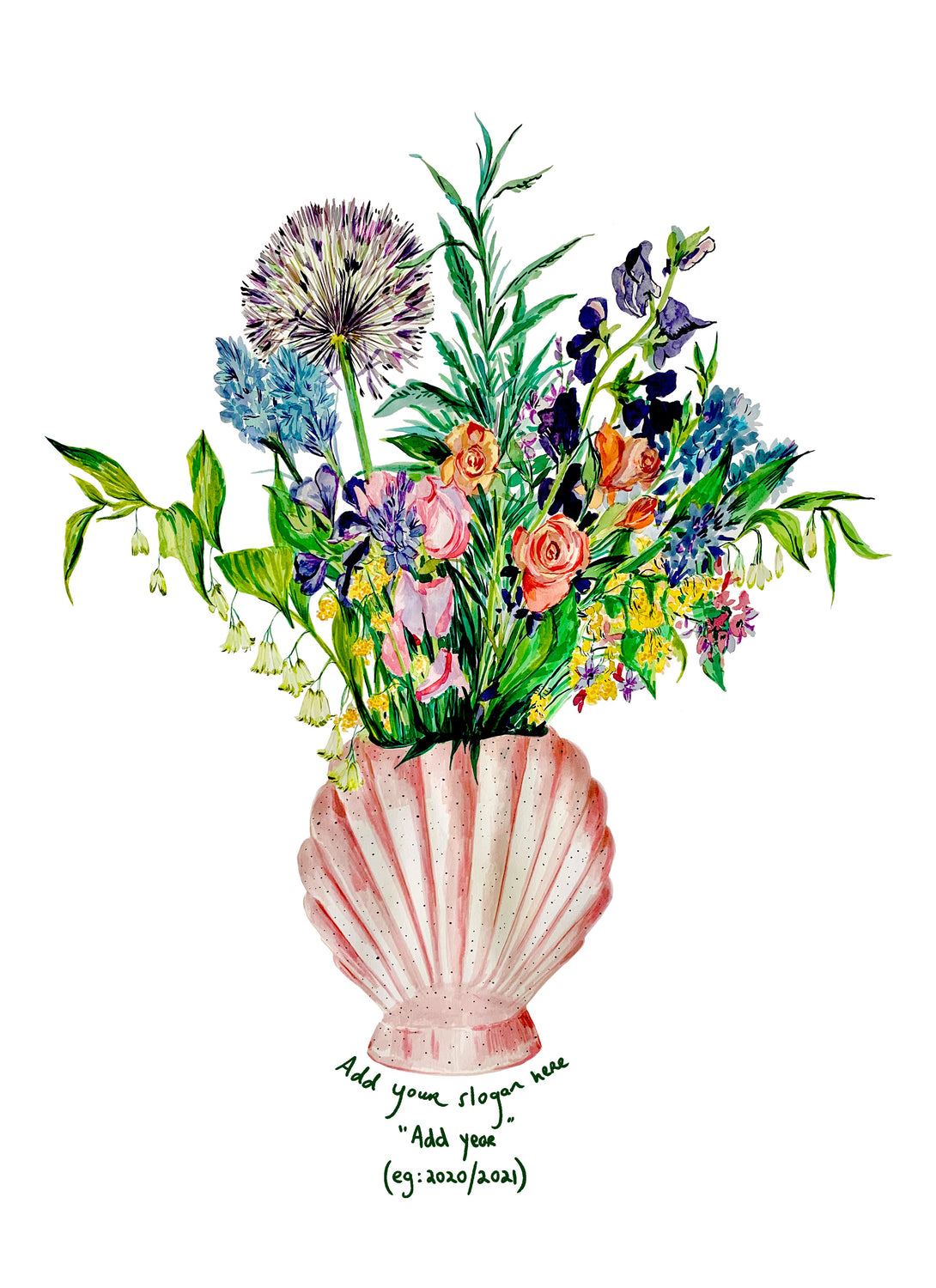 PERSONALISED Shell Vase Of Garden Blooms Giclée Print