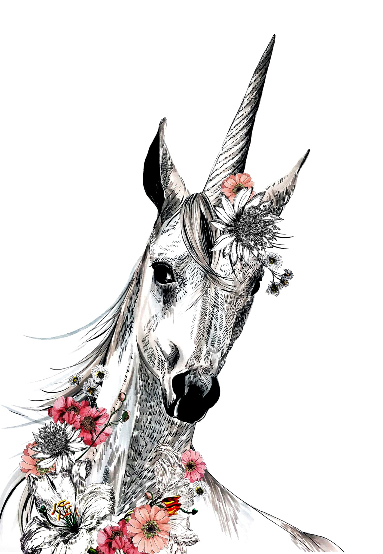 Unicorn with Flowers White