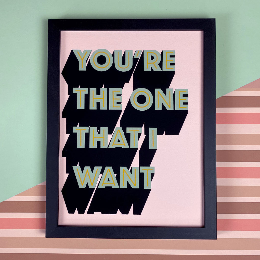 You're The One That I Want Baby Pink & Blue Giclée Print