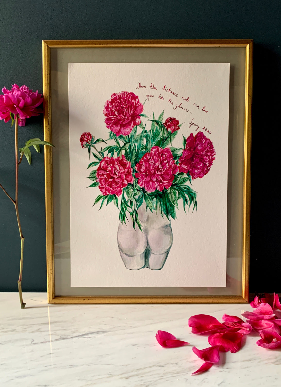 PERSONALISED Peonies in Bum Vase Giclée Print