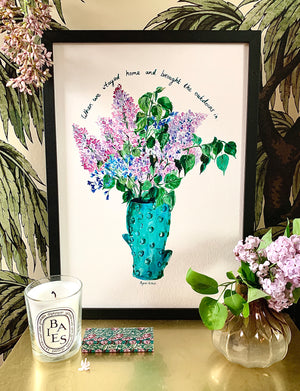 PERSONALISED Lilacs in Cactus Vase