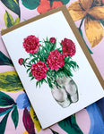 Peonies in Bum Vase Card
