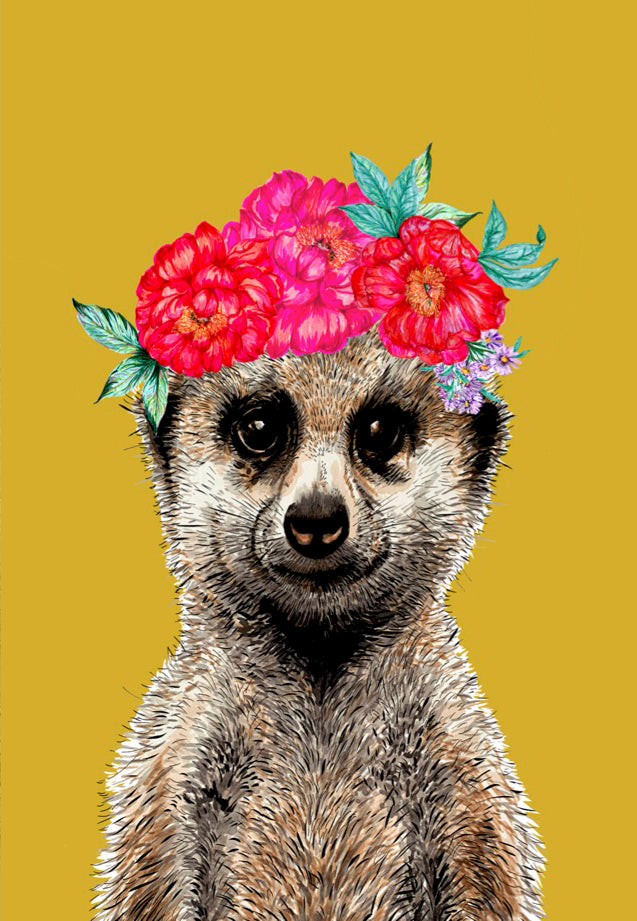 Meerkat Floral Headdress Yellow