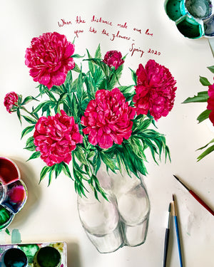 Peonies in Bum Vase