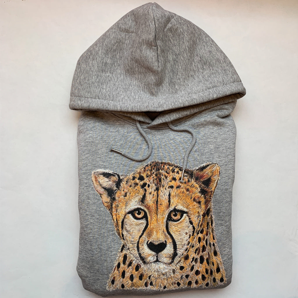 Adult Heather Grey Cheetah Hoodie