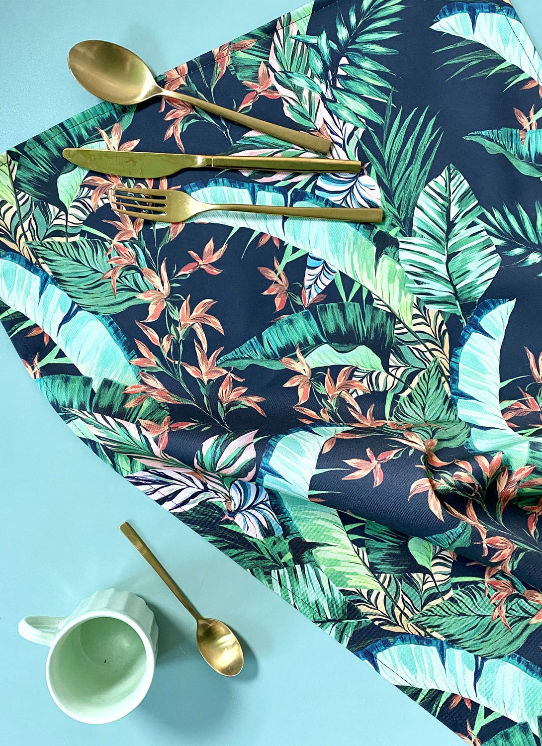 Dartmouth Tropical Tea Towel Deep Ink