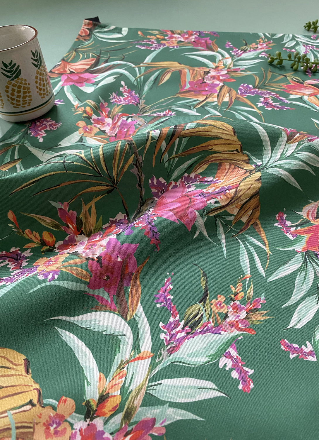 Floral Teal Tea Towel