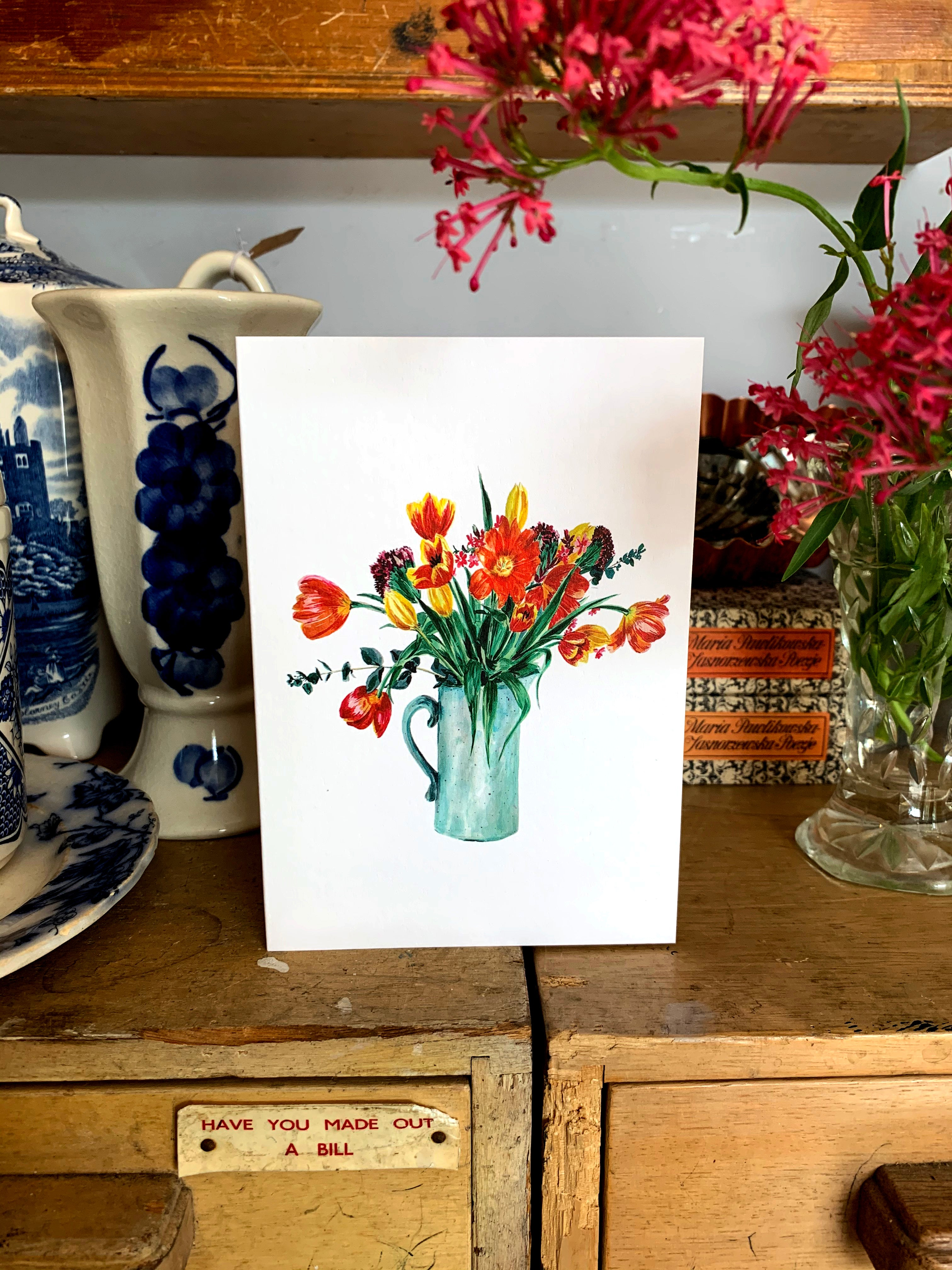 Vase of Tulips Card