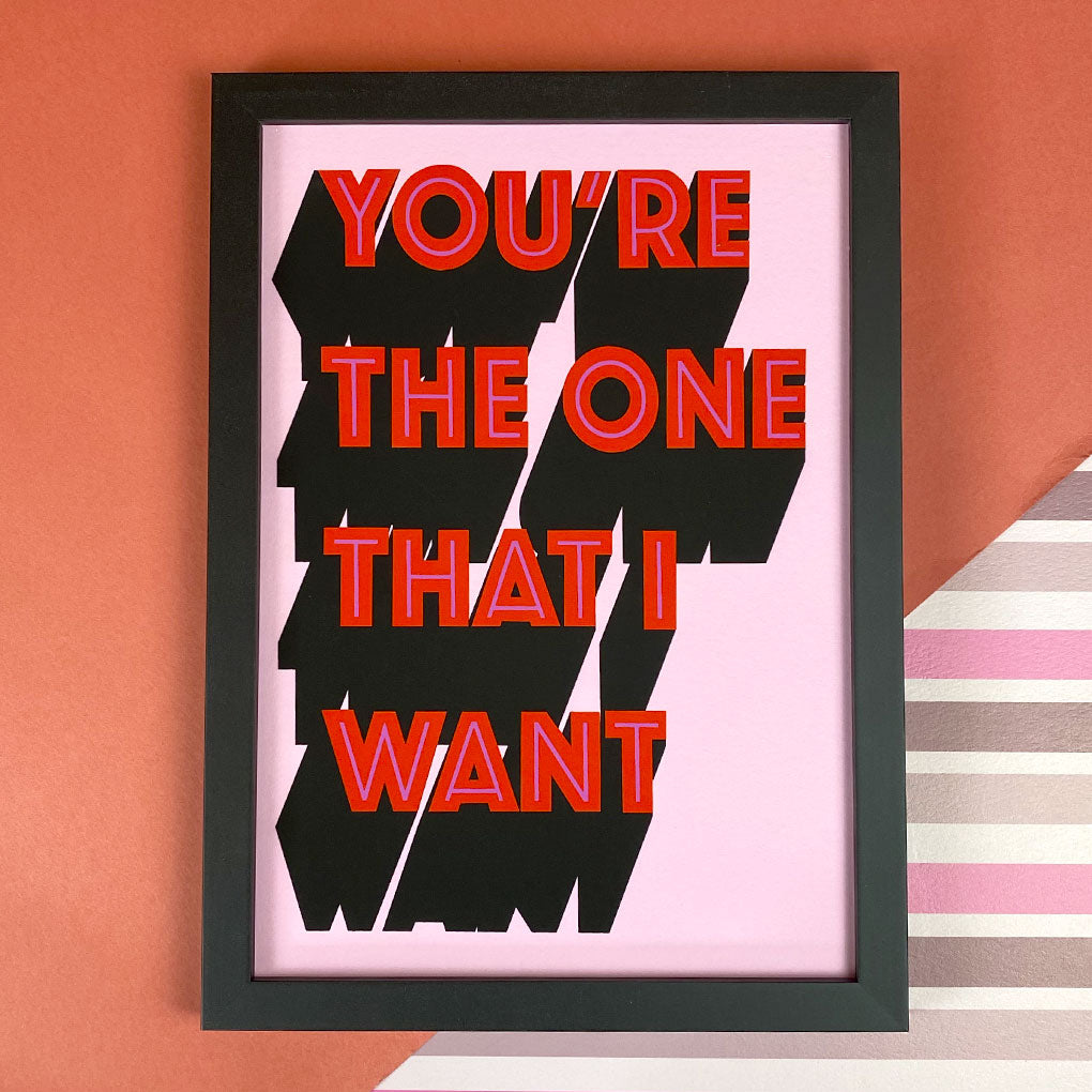 You're The One That I Want Blush Pink & Ruby Red Giclée Print