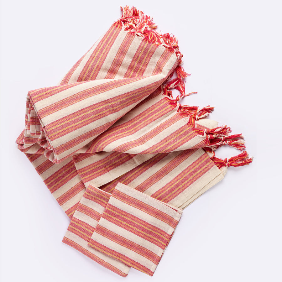 Andana Striped Tablecloth Set Magenta