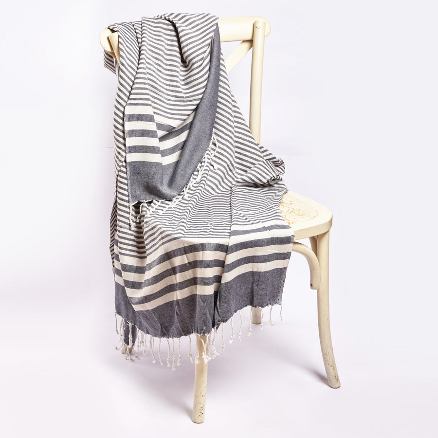 Fethiye Striped Ultra Soft Blanket Throw Blue