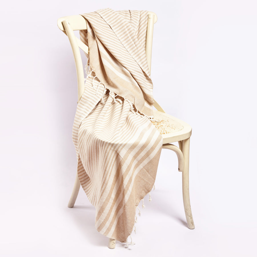 Fethiye Striped Ultra Soft Blanket Throw Beige
