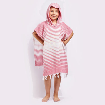 Ayvlik Hooded Poncho - Pink