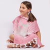AYVALIK ECO-FIENDLY STRIPED PONCHO MADE 100% FROM UPCYCLED COTTON (PINK)