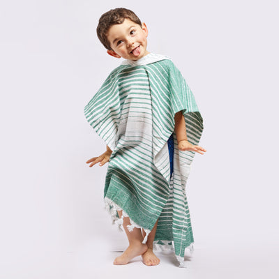 Ayvalik Eco-friendly Poncho Made 100% From Upcycled Cotton Green