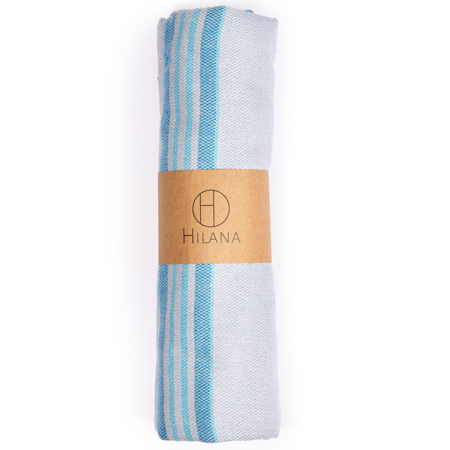 ANTALYA STRIPED ECO-FRIENDLY SPA / BEACH TOWEL TURQUOISE