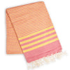 FETHIYE STRIPED ULTRA SOFT ECO-FRIENDLY TOWEL PINK / YELLOW