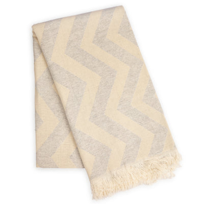 Mersin Chevron Turkish Towel / Blanket - Grey