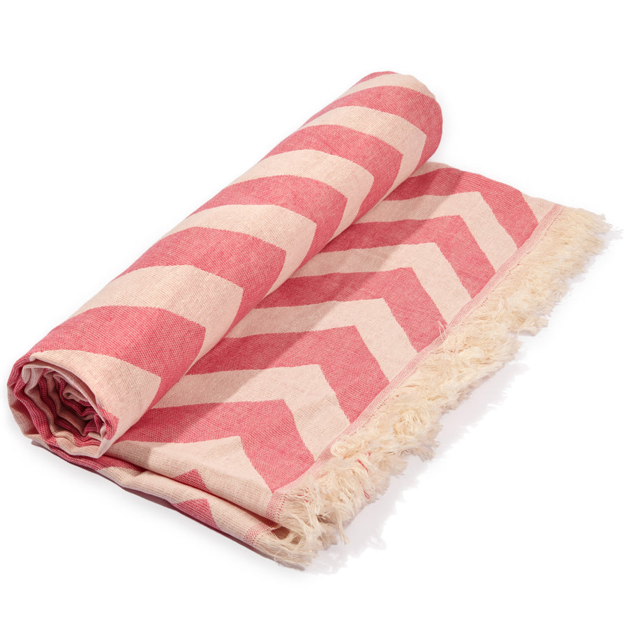 MERSIN ULTRA SOFT CHEVRON DESIGN TOWEL PINK