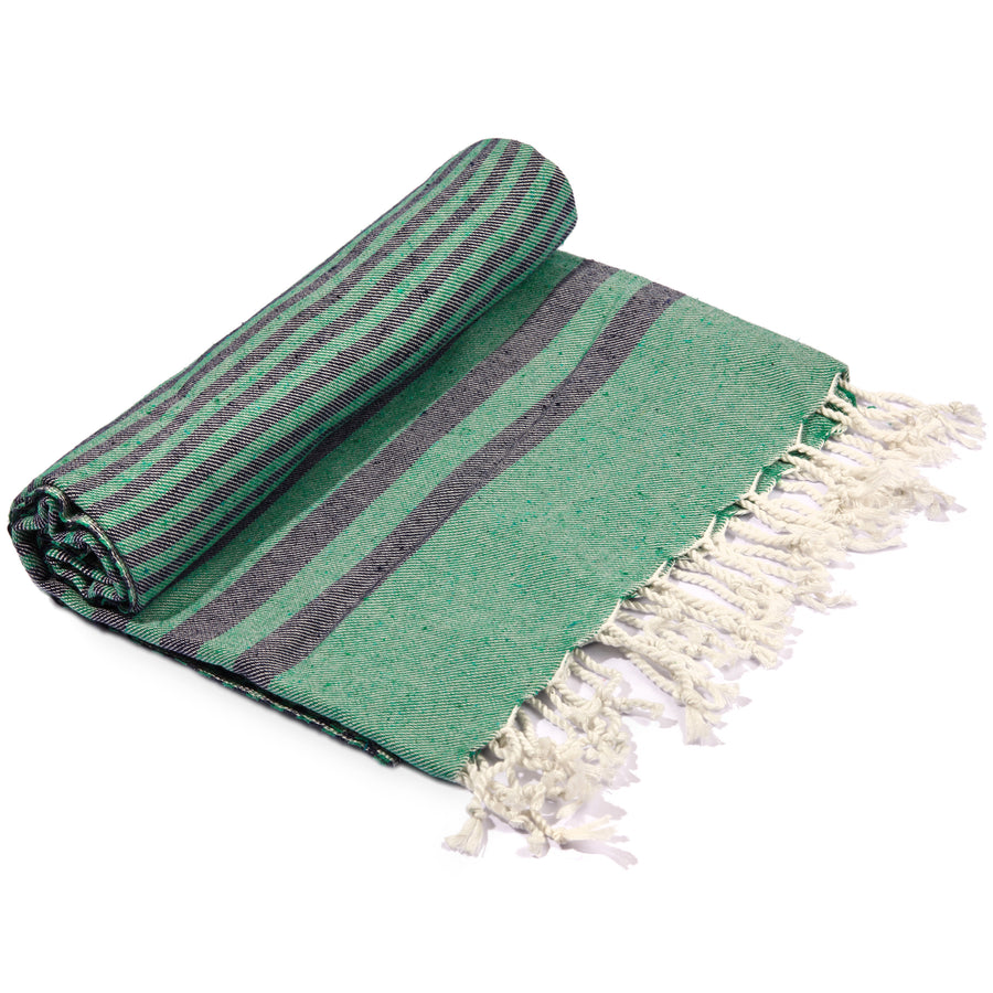 Fethiye Striped Ultra Soft Eco-Friendly Towel Green + Navy Blue