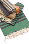 Fethiye Striped Turkish Towel - Green
