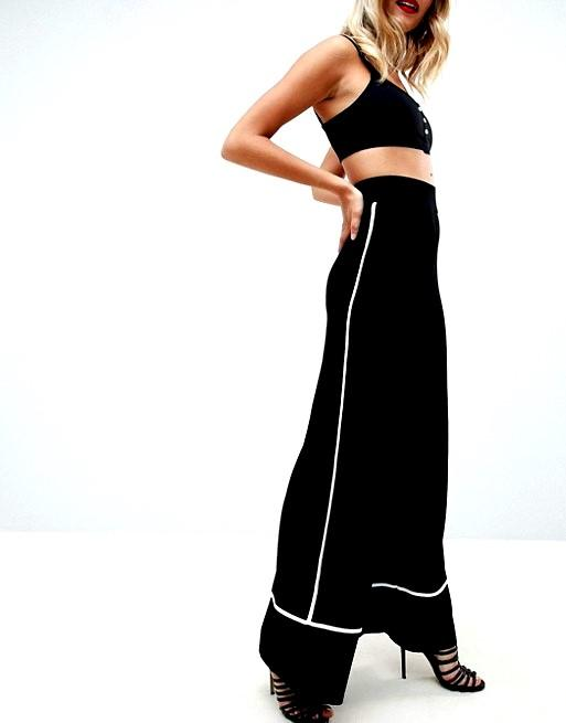 ASOS Wide Leg Trousers With Binding Contrast In Black and white