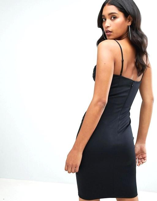 Lipsy Sequin Top Cami Bodycon Dress in black