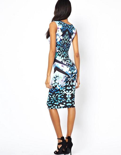 Lipsy Bodycon Dress in Mirror Floral Print