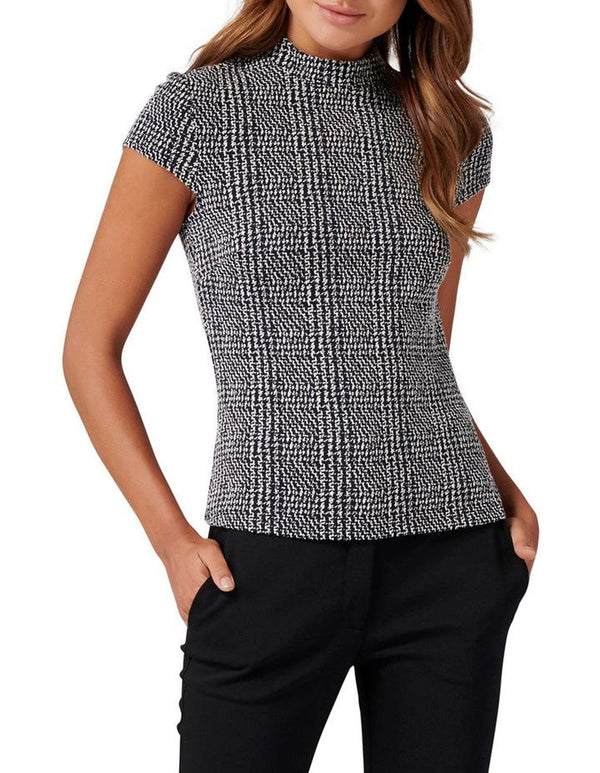 Forever New Leonie High Neck Check Top