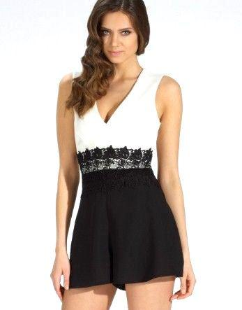 Lipsy Monochrome Lace Insert Playsuit