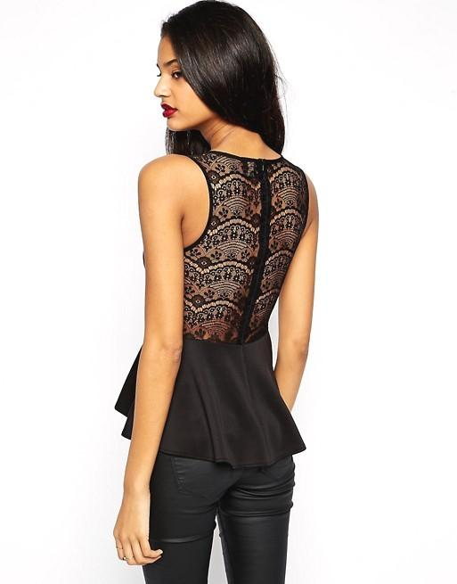 ASOS Peplum Top with Embellished Trim and Lace Back