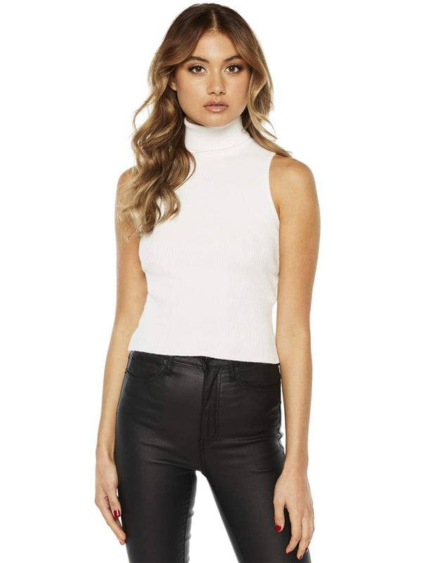 Bardot Madi Funnel Crop Knit Top