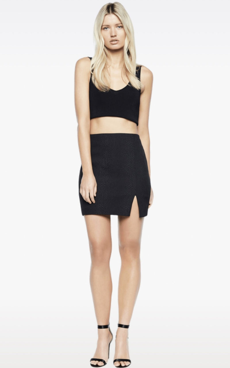 Bardot Croc Split Skirt