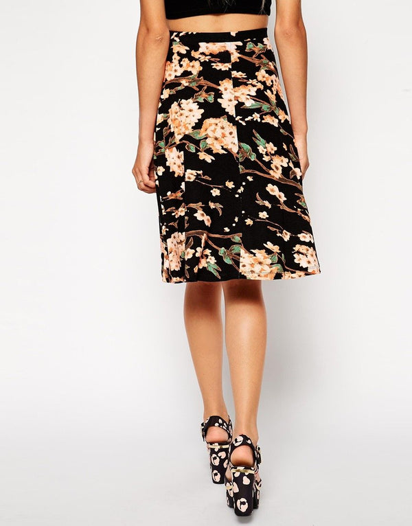 ASOS A Line Floral Midi Skirt