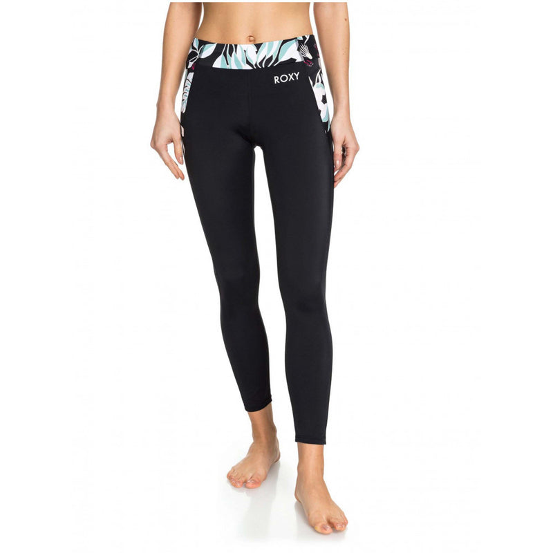 Roxy True Black & Mint Floral Take Me To The Beach 7/8 Leggings