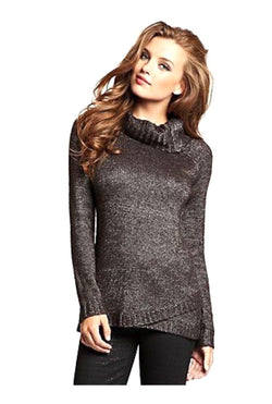 Guess Metallic Mock Neck Zip Sweater
