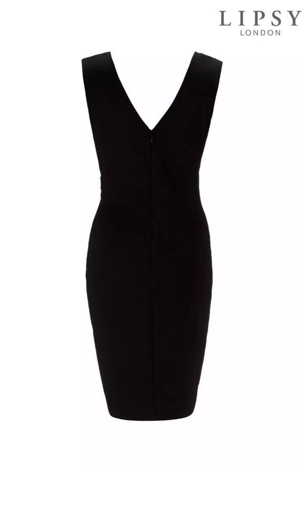 Lipsy Wrap Front Monochrome Dress With Chain Detail