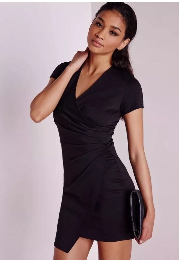 Missguided Short Sleeve Wrap Bodycon Dress