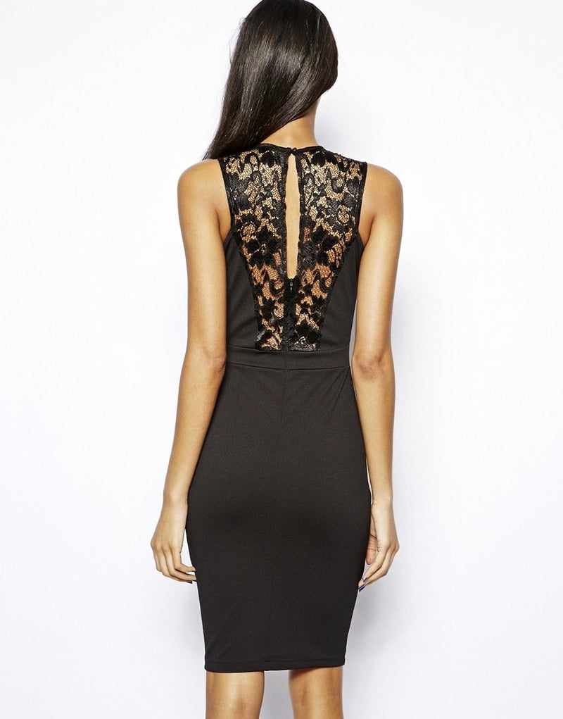 TFNC Black Bodycon Dress With Lace Inserts
