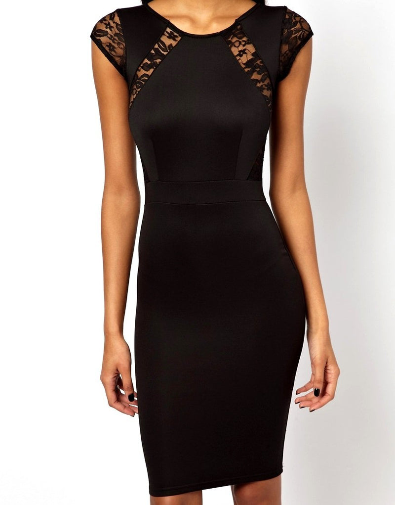 TFNC Black Pencil Dress With Lace Inserts